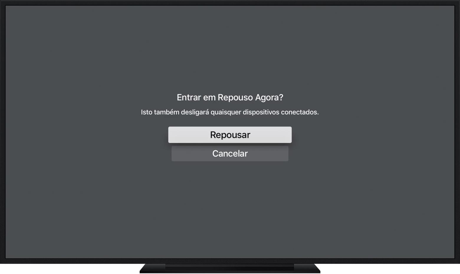 Colocando a Apple TV em modo de repouso