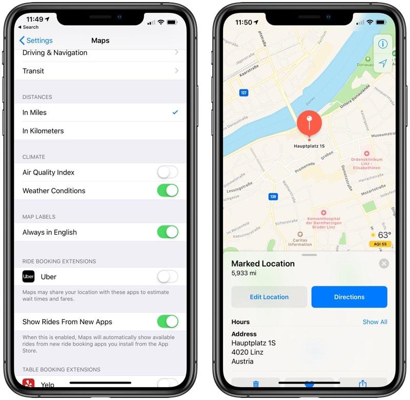 Qualidade do ar no Maps do iOS 12.2 beta