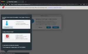 Página falsa de instalação do Flash para instalação do malware VeryMal