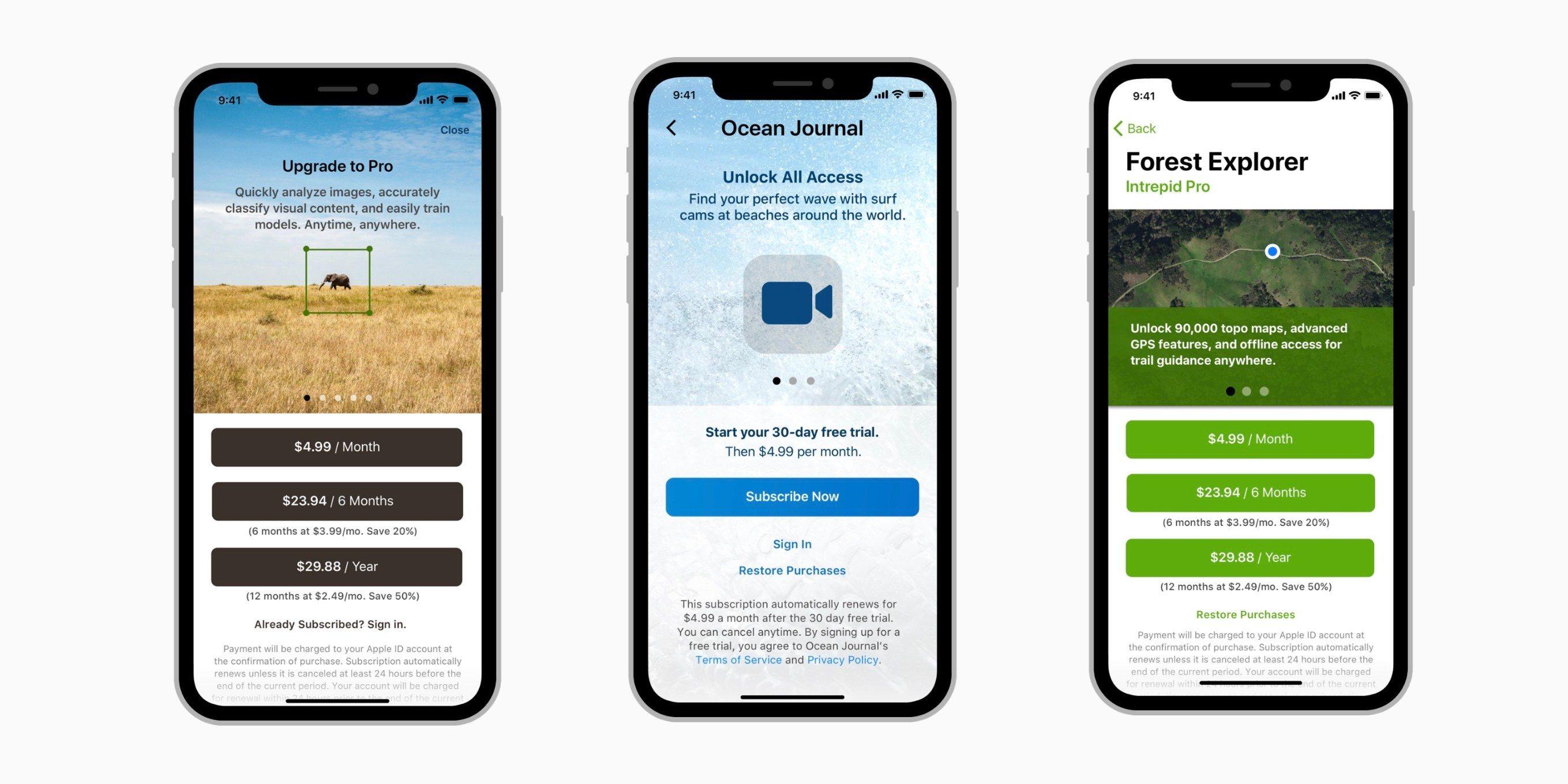 Novas screenshots de assinaturas em apps da Apple