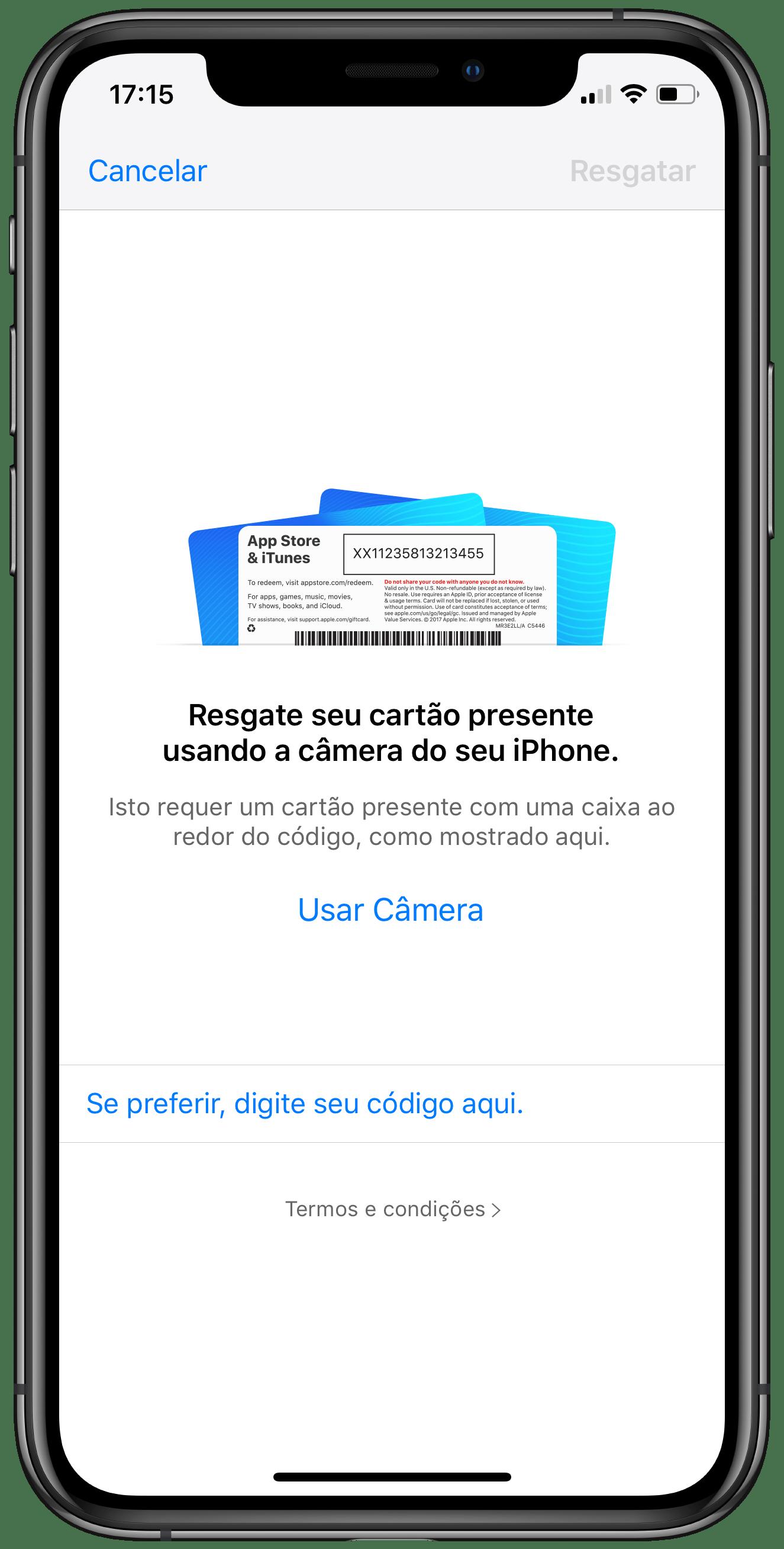 Regatar cartão-presente no iOS