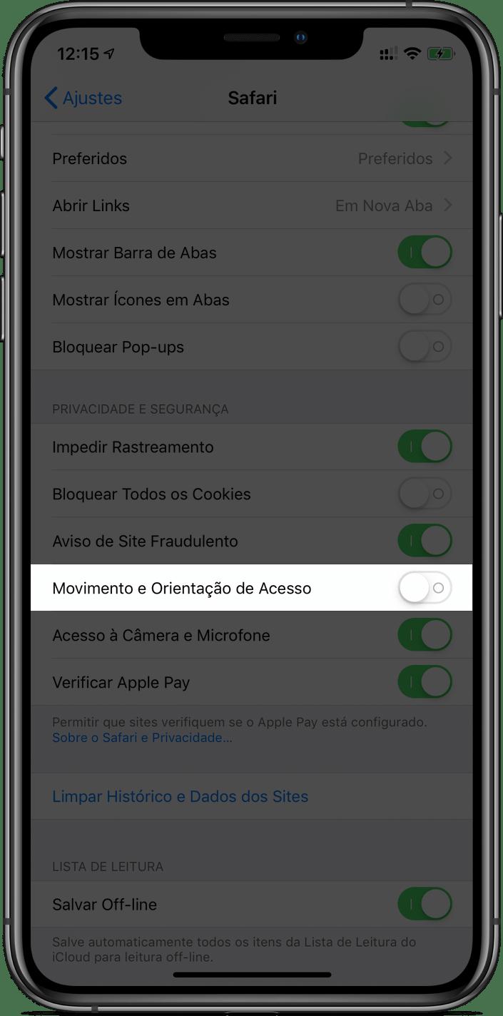 Nova opção de acesso a movimento e a orientação no Safari do iOS 12.2