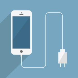 Ilustração de um iPhone com cabo e carregador