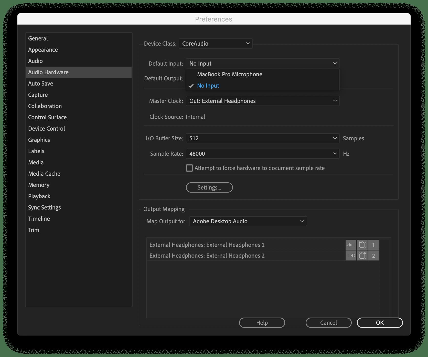 Mudando as preferências do Adobe Premiere CC para evitar que os alto-falantes do Mac sejam estourados