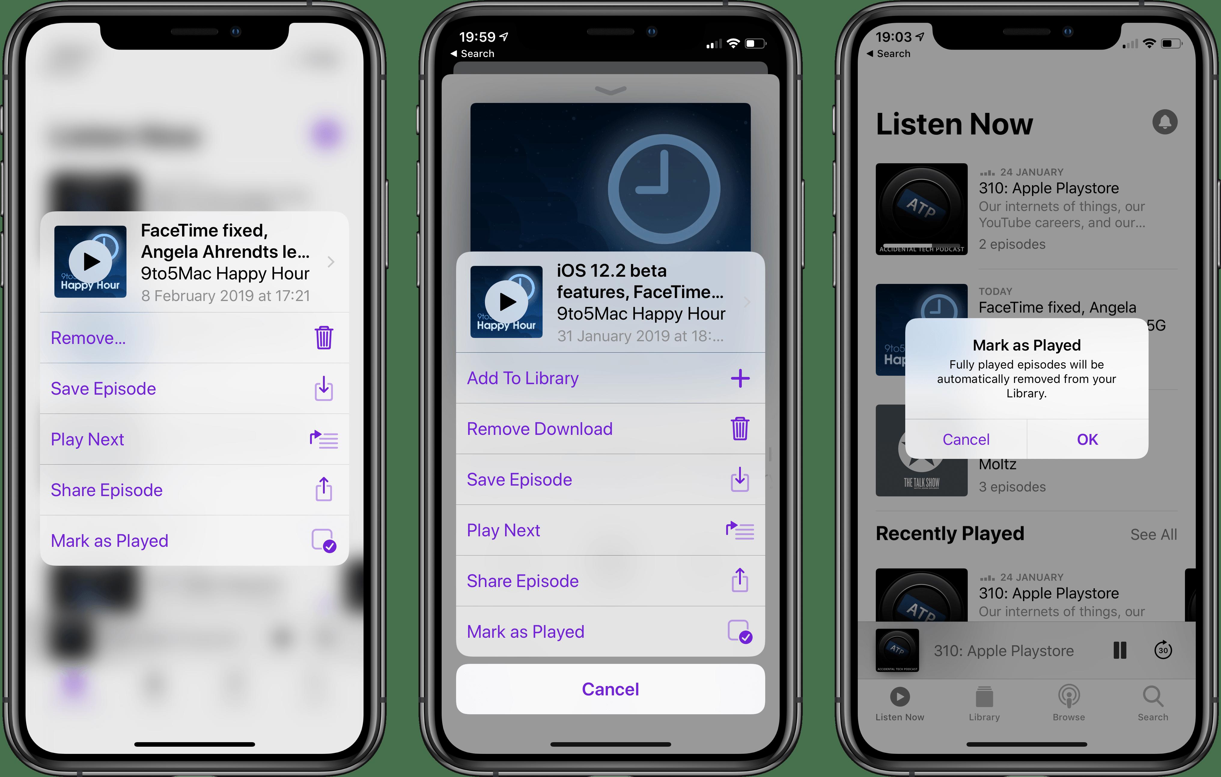 Marcar como reproduzido no app Podcasts, novidade do iOS 12.2