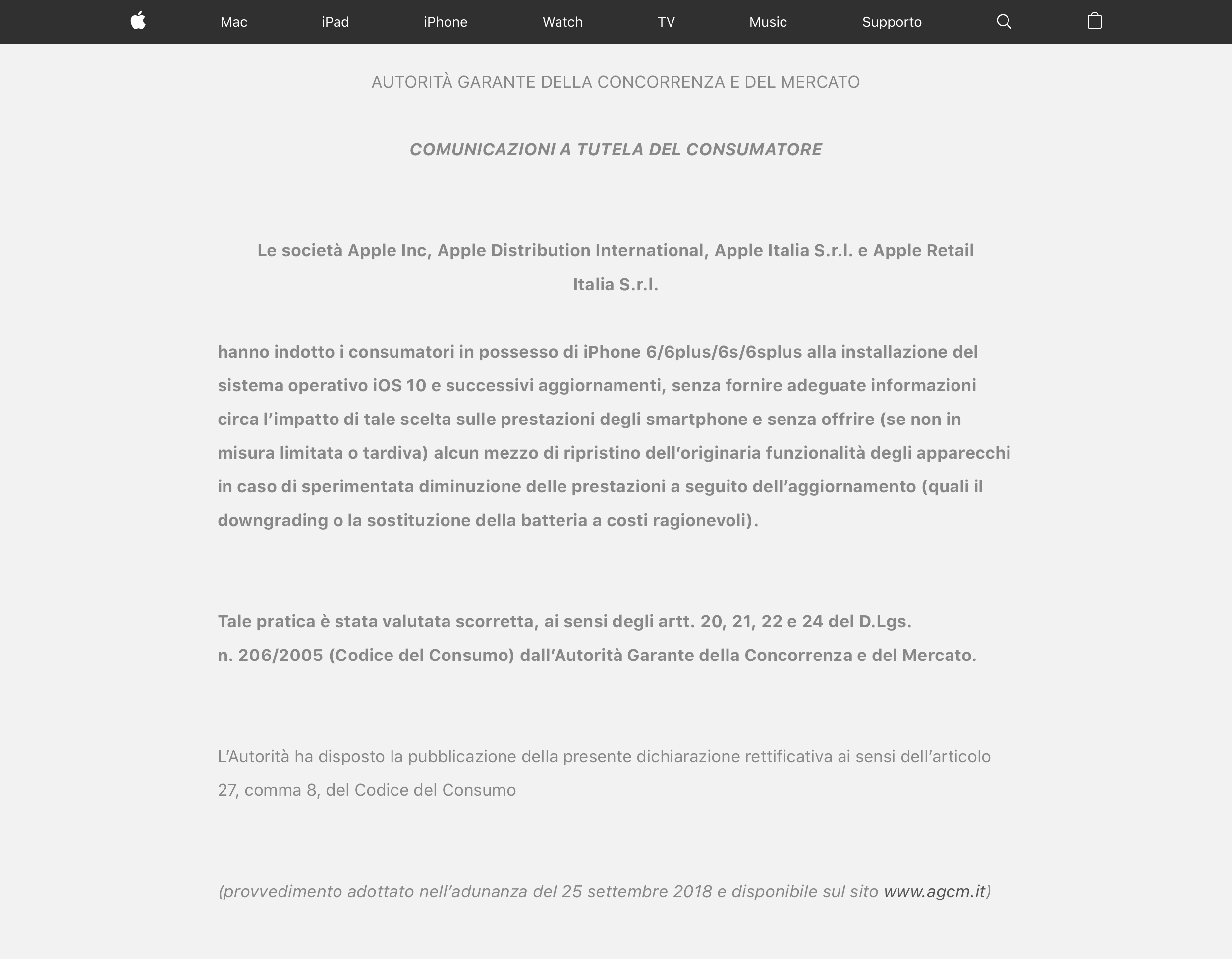 Aviso estampado no site italiano da Apple