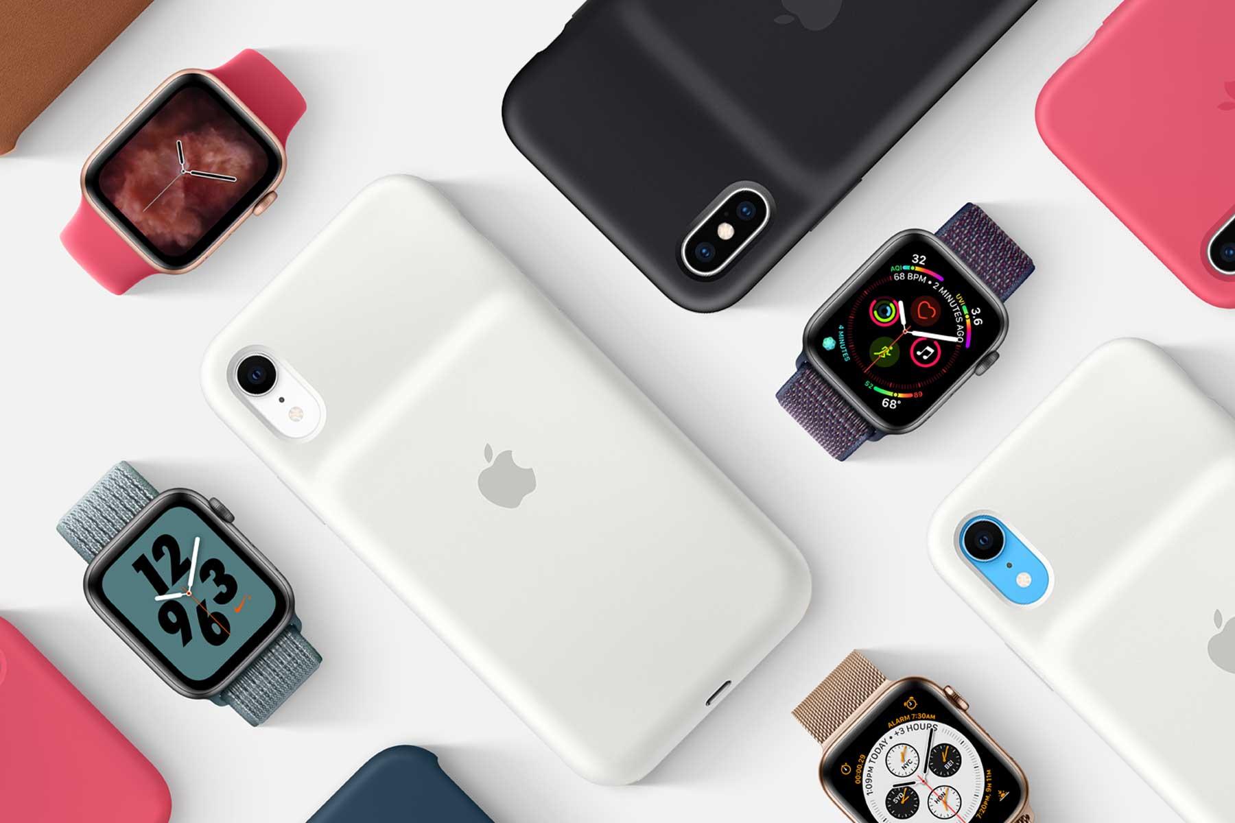 Produtos Apple (iPhones com Smart Battery Cases e Apple Watches)