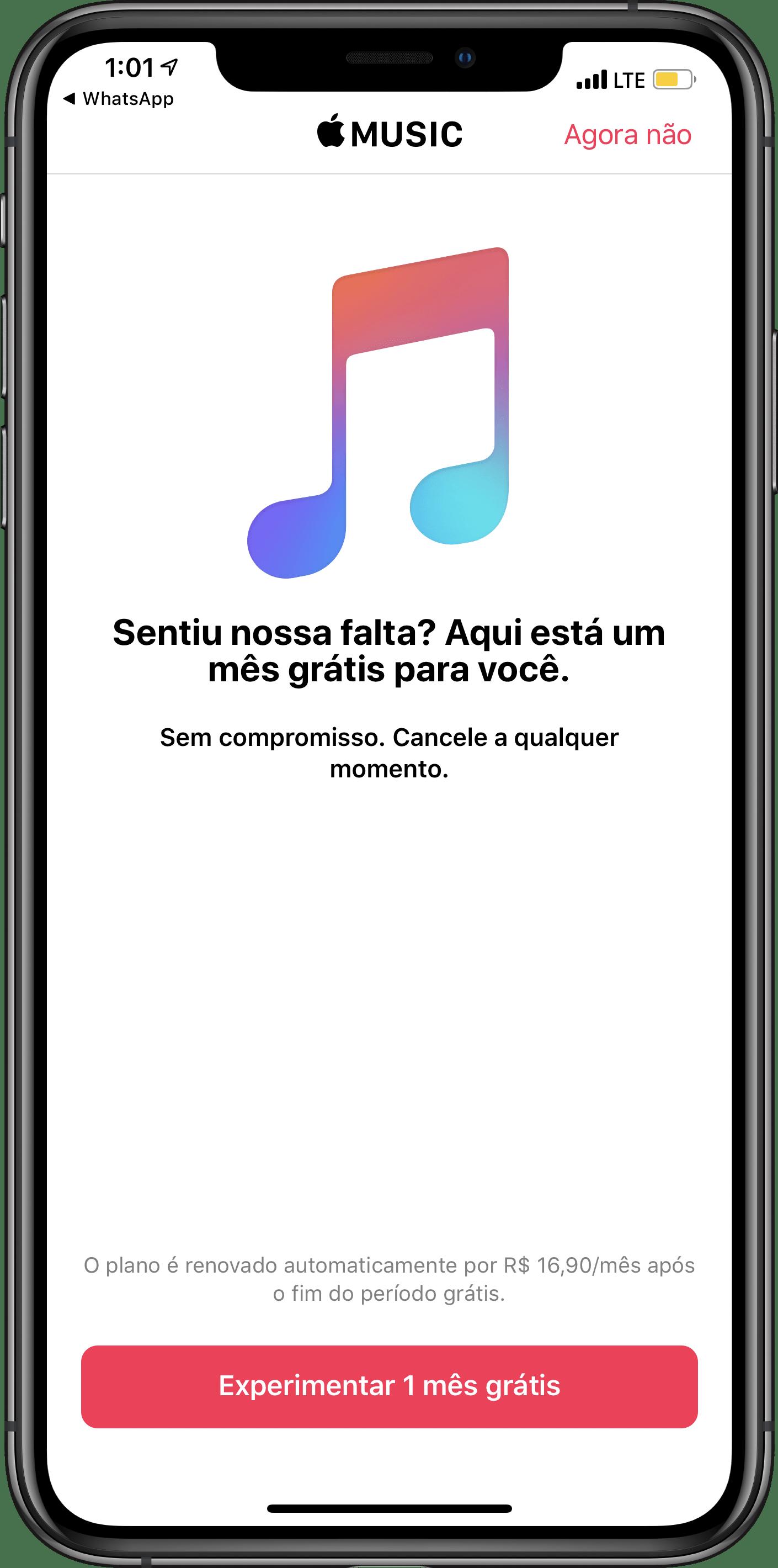 Promoção do Apple Music enviada por notificação