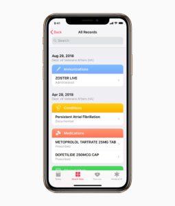 Dados de saúde de veteranos no Registro de Saúde do iOS