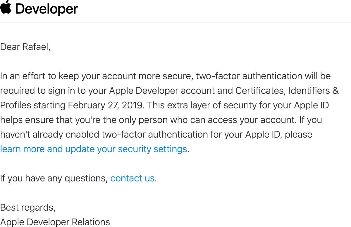 Email de segurança para desenvolvedores