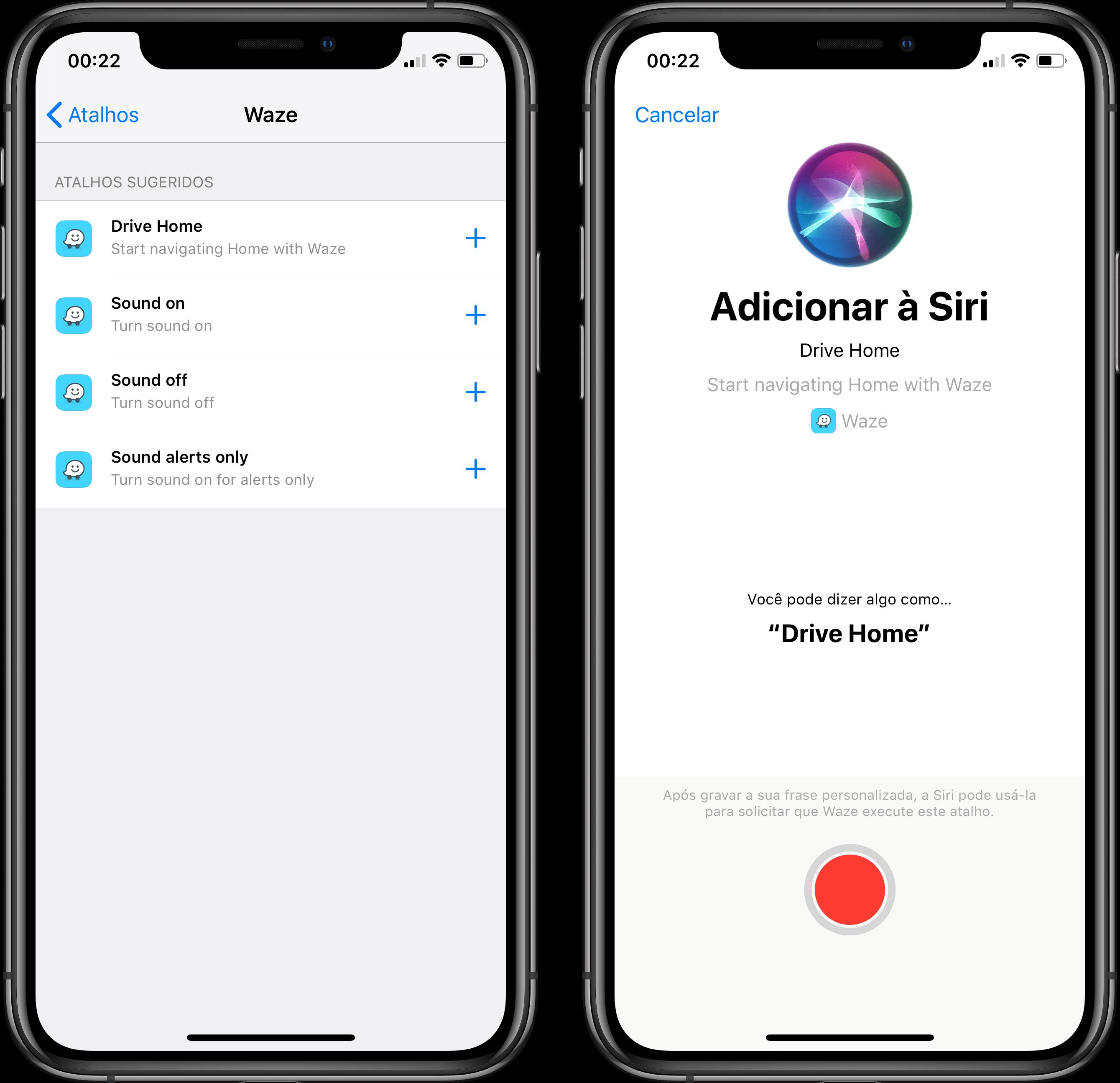 Atalhos da Siri no Waze
