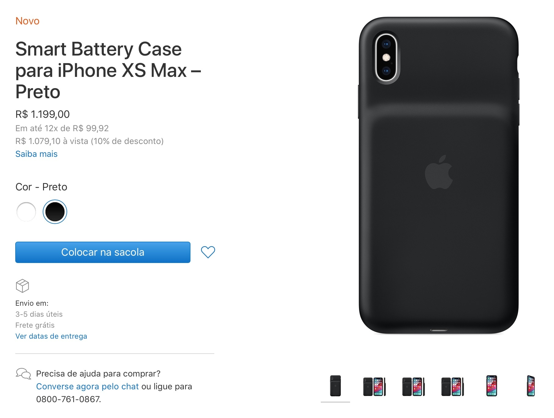 Smart Battery Case do iPhone XS Max disponível na Apple Online Store