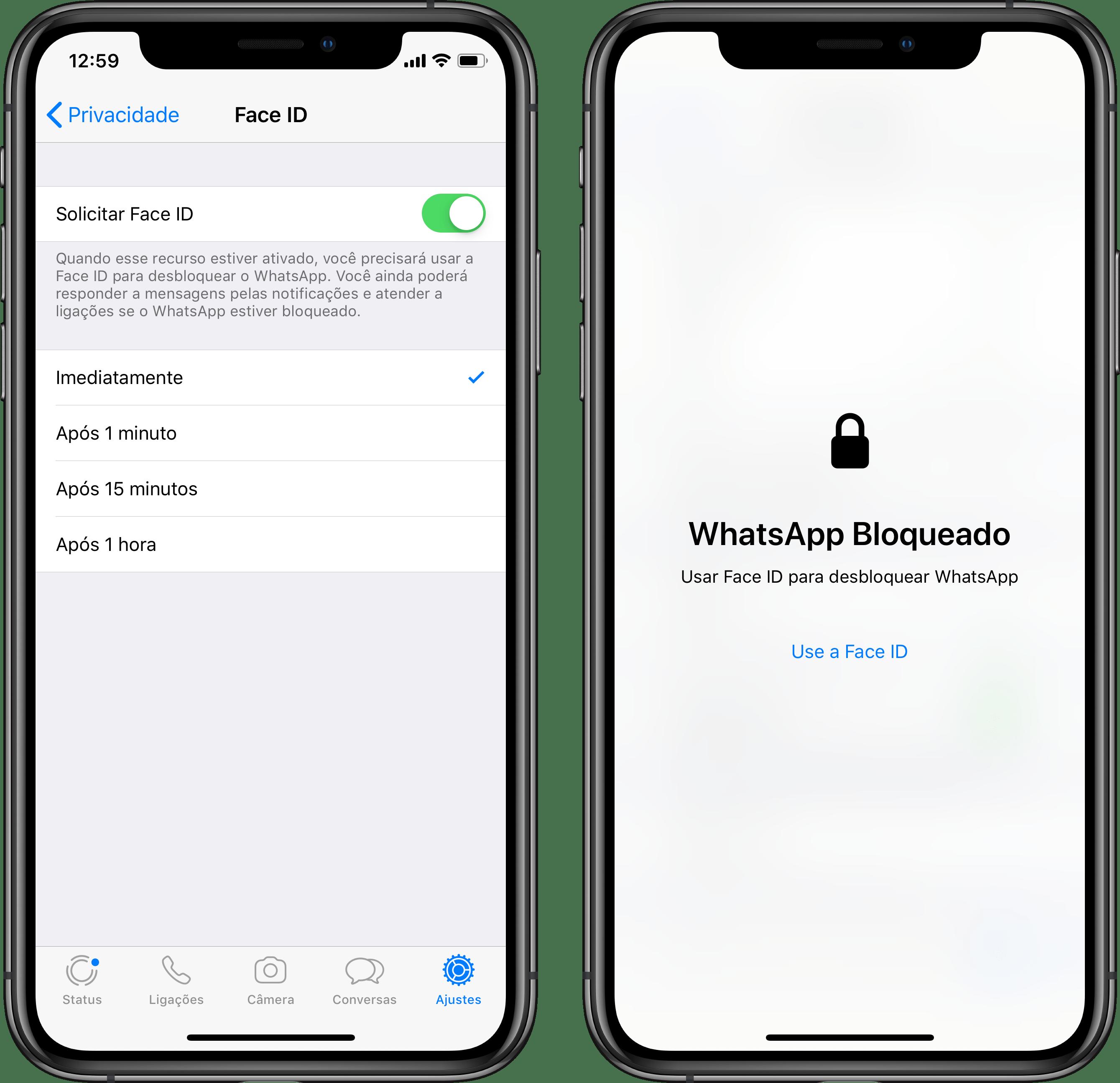 Proteção do Touch/Face ID no WhatsApp