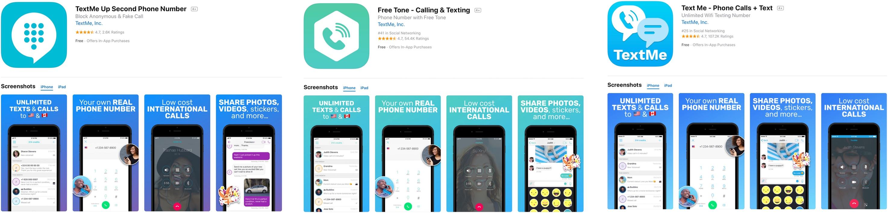 Apps da TextMe na App Store