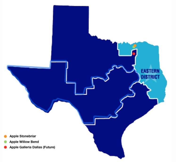 Localização das lojas da Apple no Distrito Leste do Texas