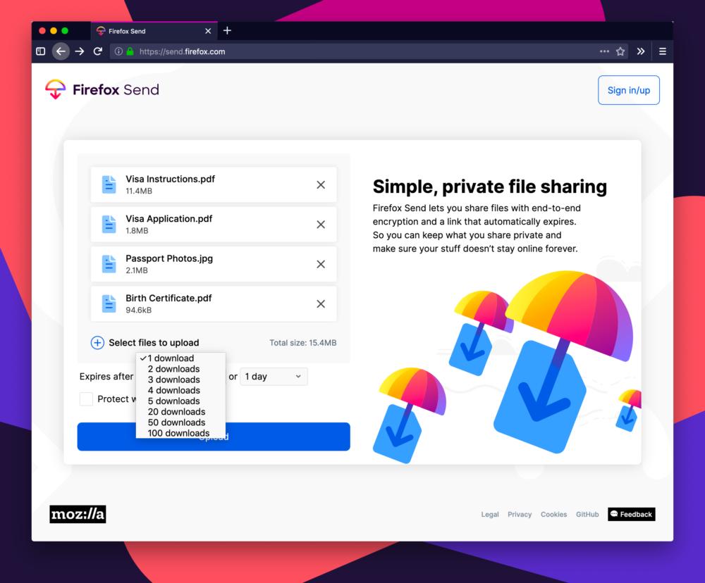 Firefox Send, serviço de compartilhamento de arquivos