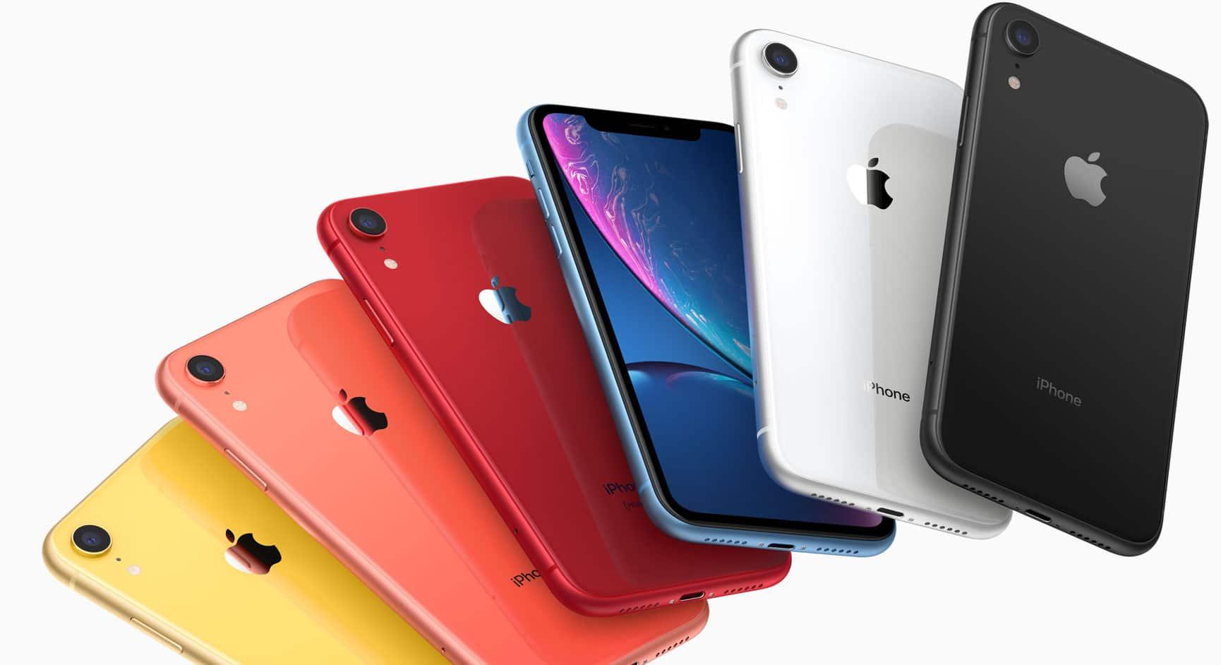 Todas as cores do iPhone XR sobrepostas