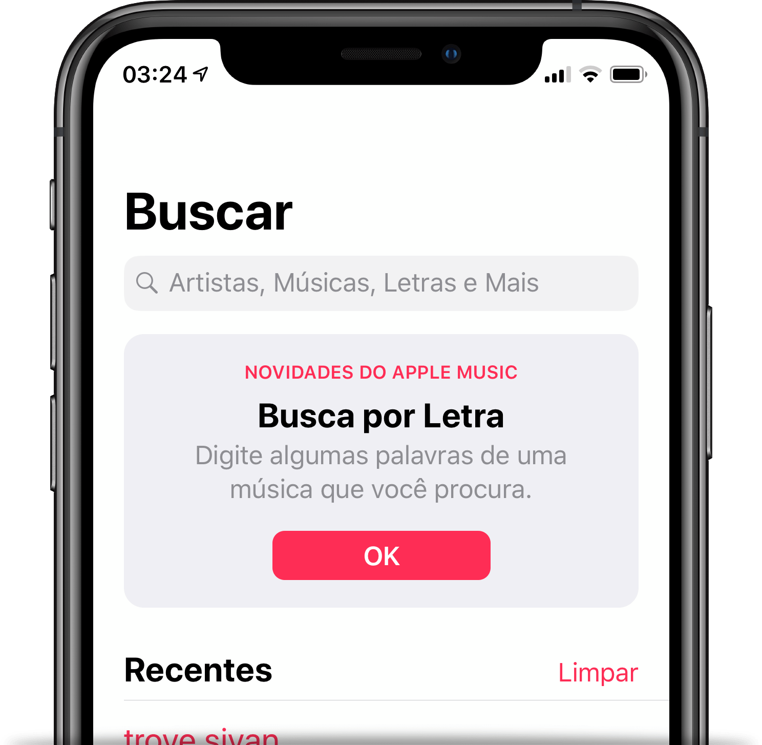 Busca por letras de músicas no Apple Music