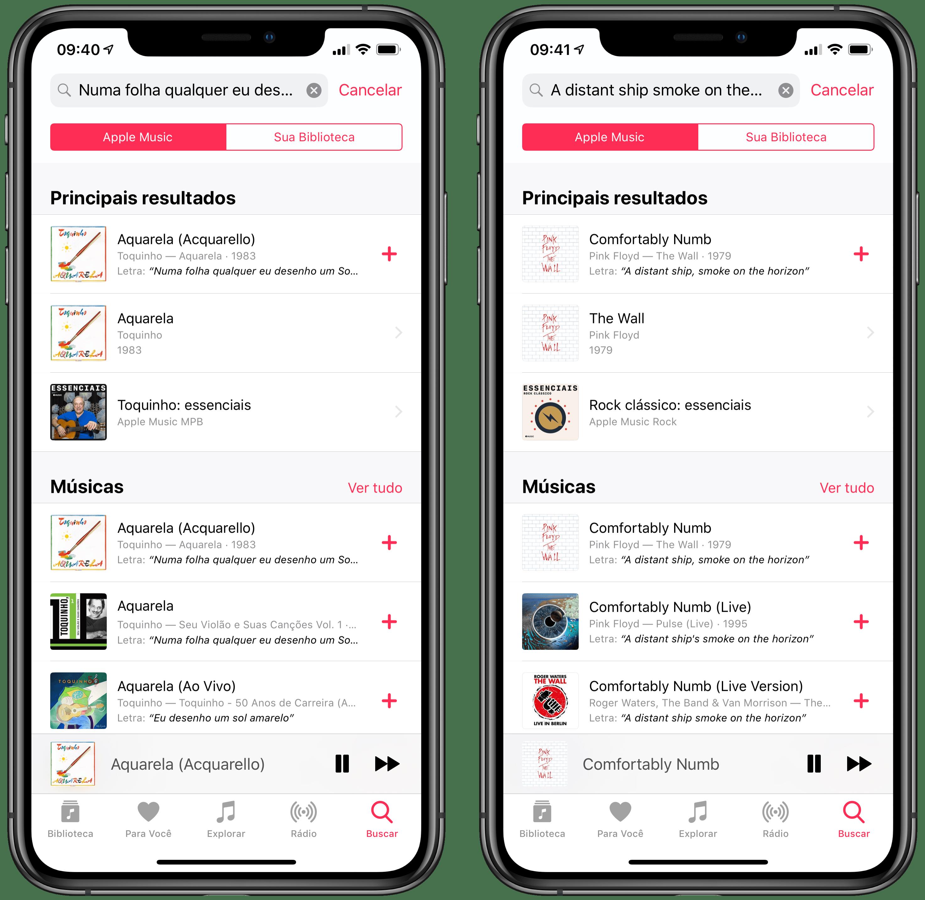Busca por letras de músicas no Apple Music