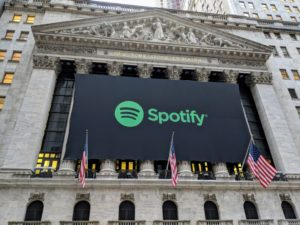 Logo do Spotify na Bolsa de Valores de Nova York