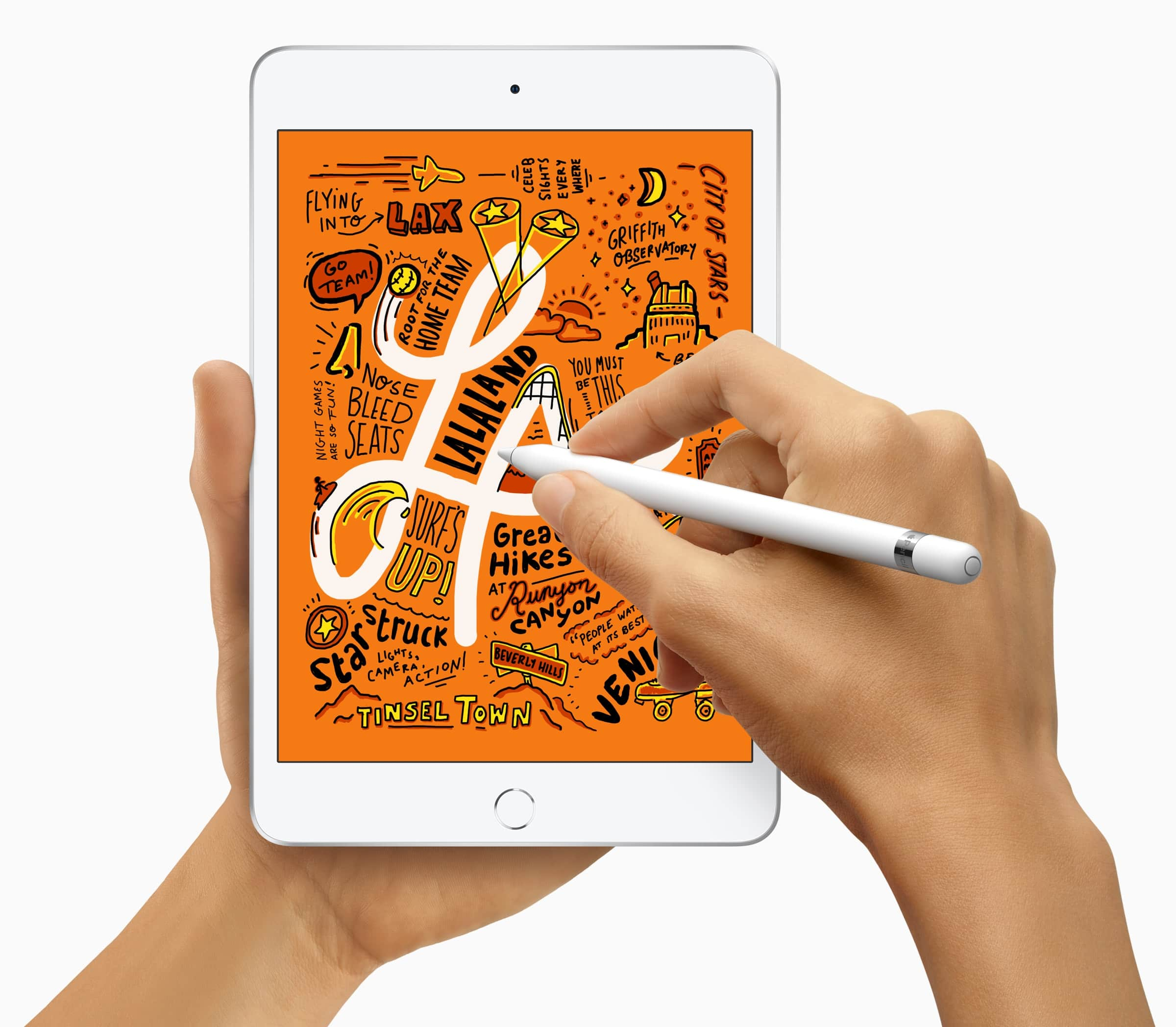 Novo iPad mini na mão com o Apple Pencil