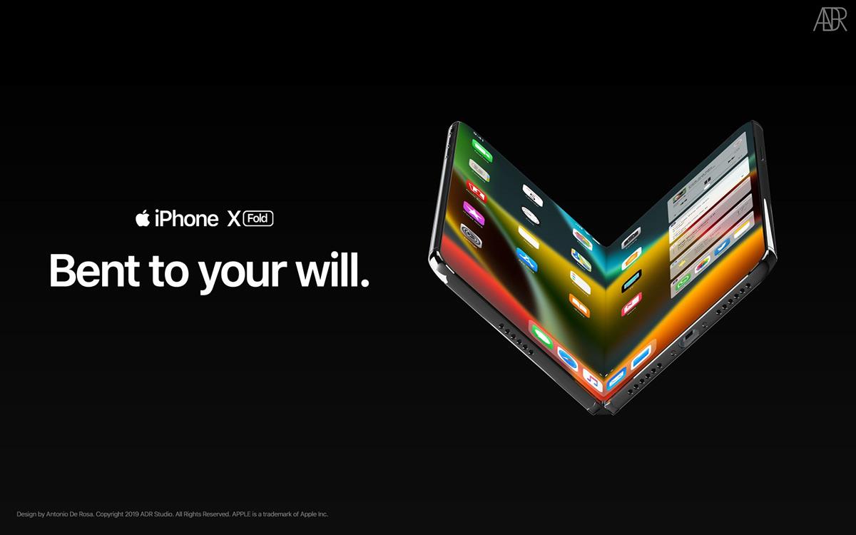 "Conceito de iPhone dobrável ""iPhone X Fold"""