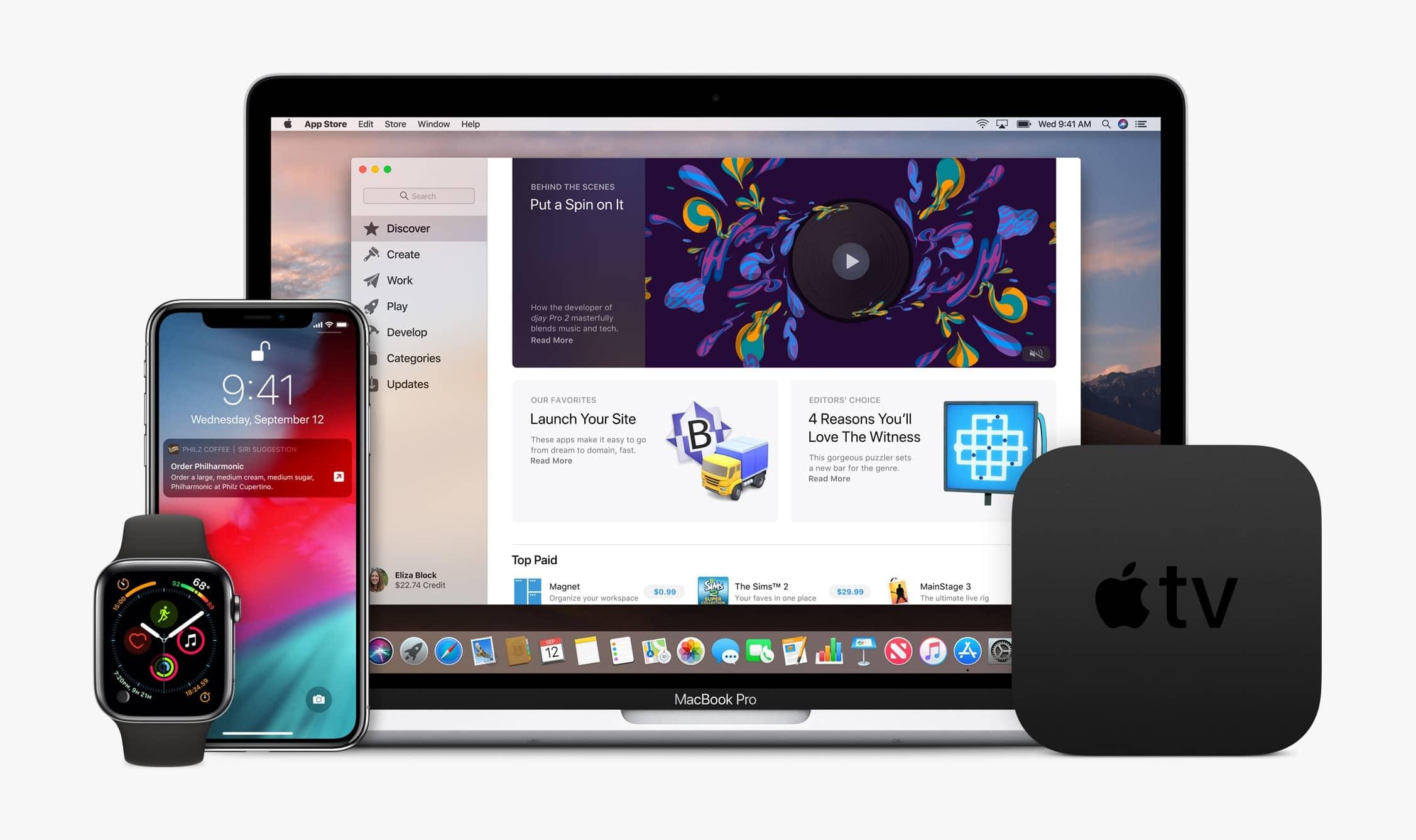 Plataformas Apple - Apple Watch, iPhone, MacBook Pro e Apple TV