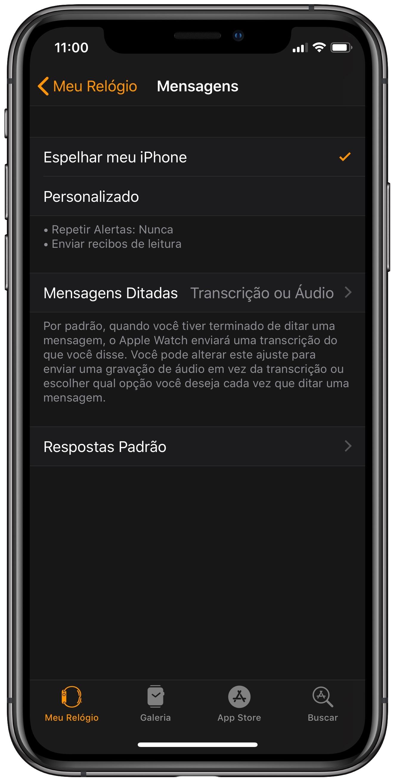 "Menu ""Mensagens"" do app Watch."