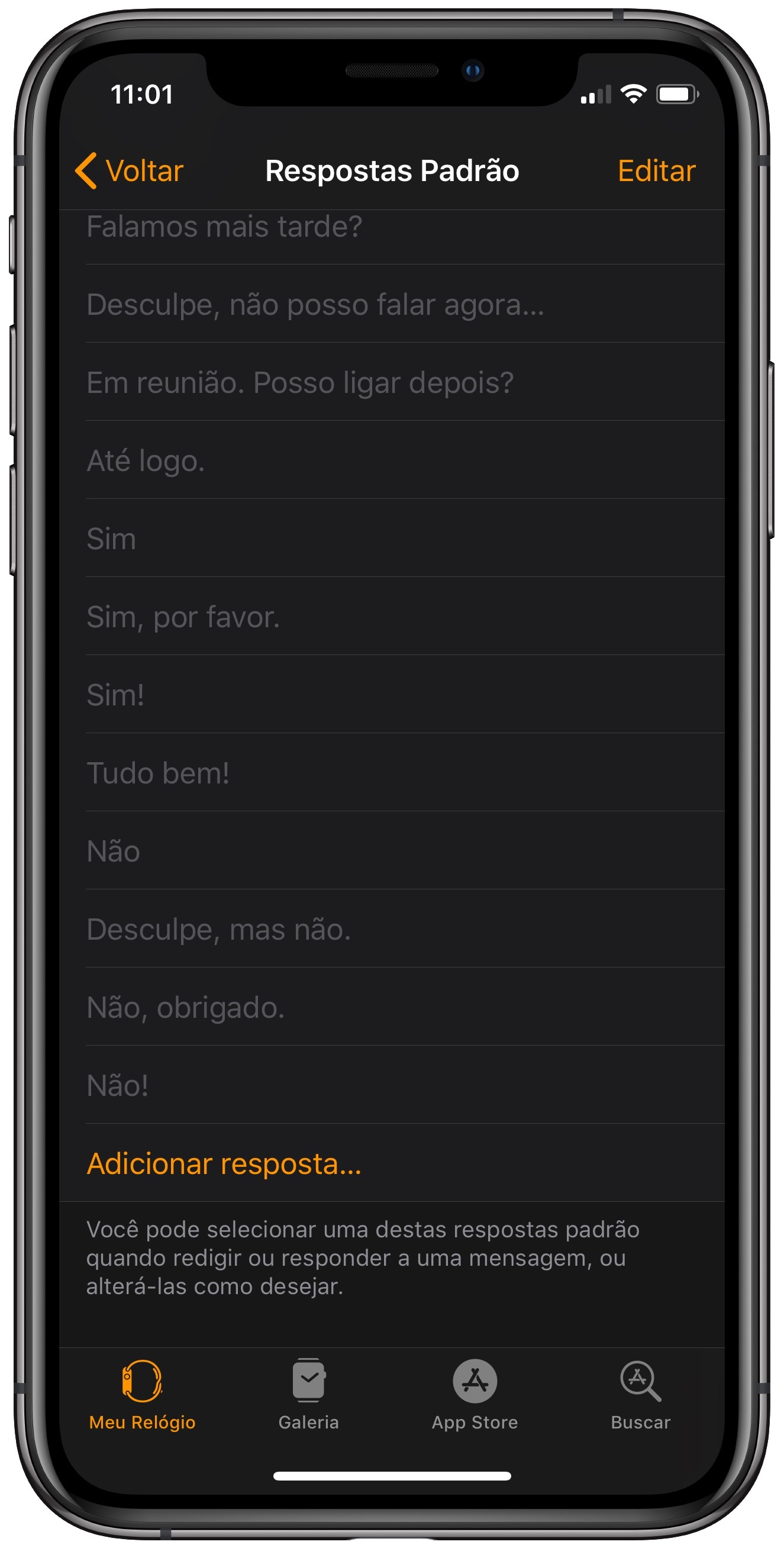 Mensagens predefinidas do Apple Watch.