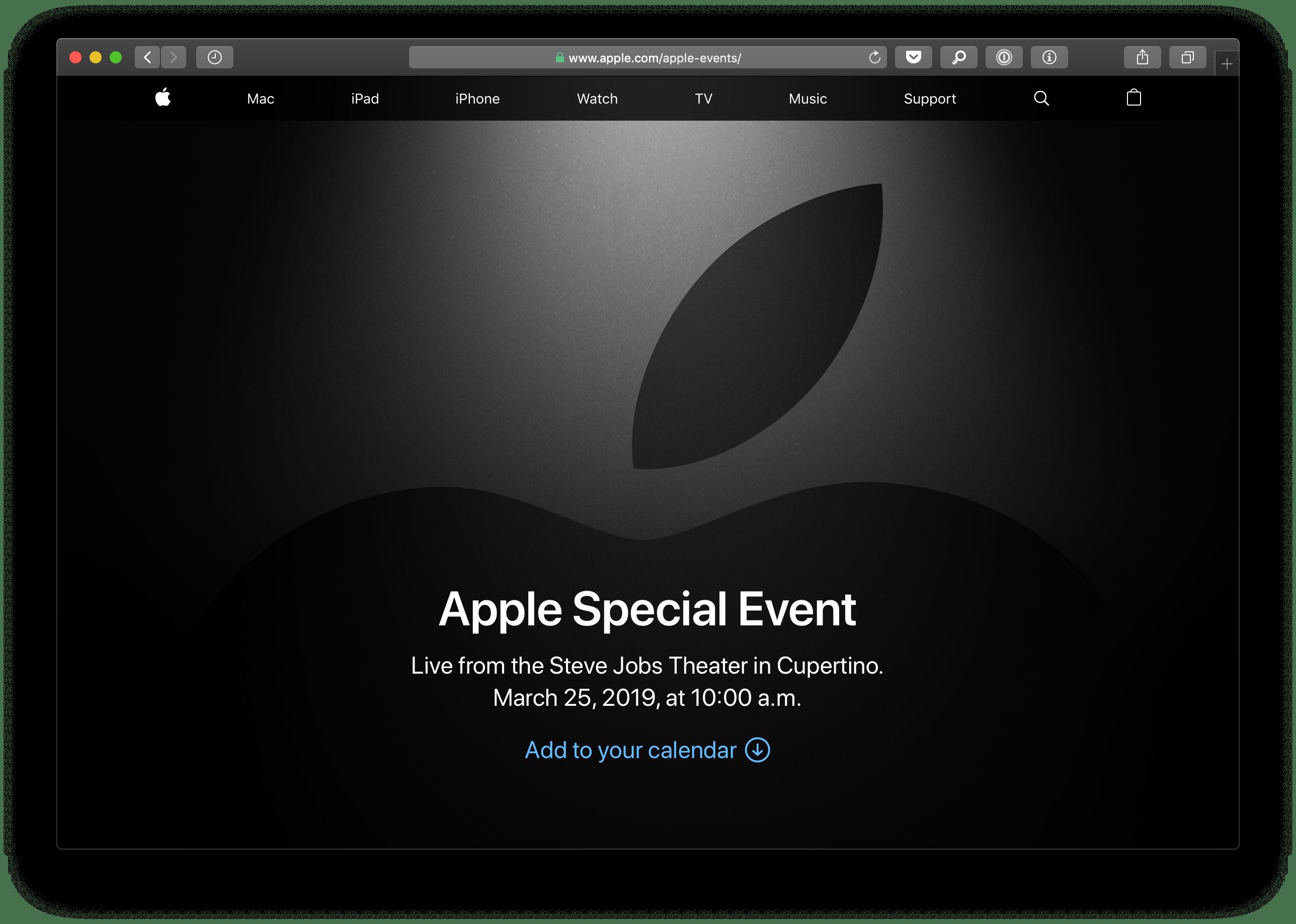 """Streaming da Apple para o evento """"É hora do show"""""""