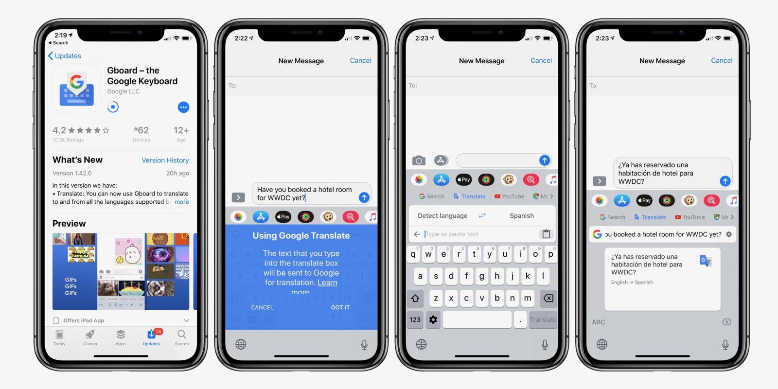 Teclado Gboard para iOS com integração com o Google Tradutor
