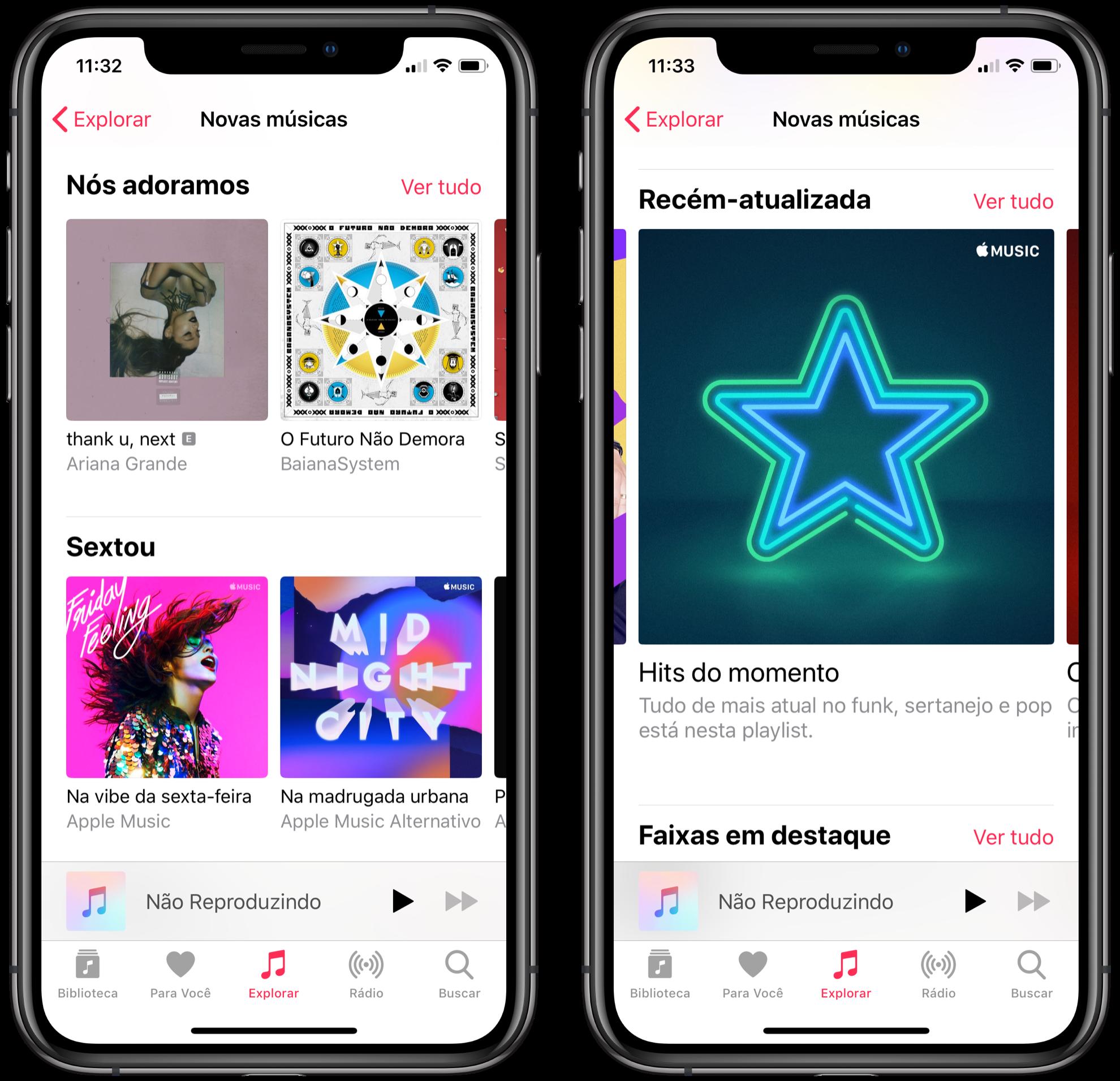 """Sessão """"Novas músicas"""" no iOS"""