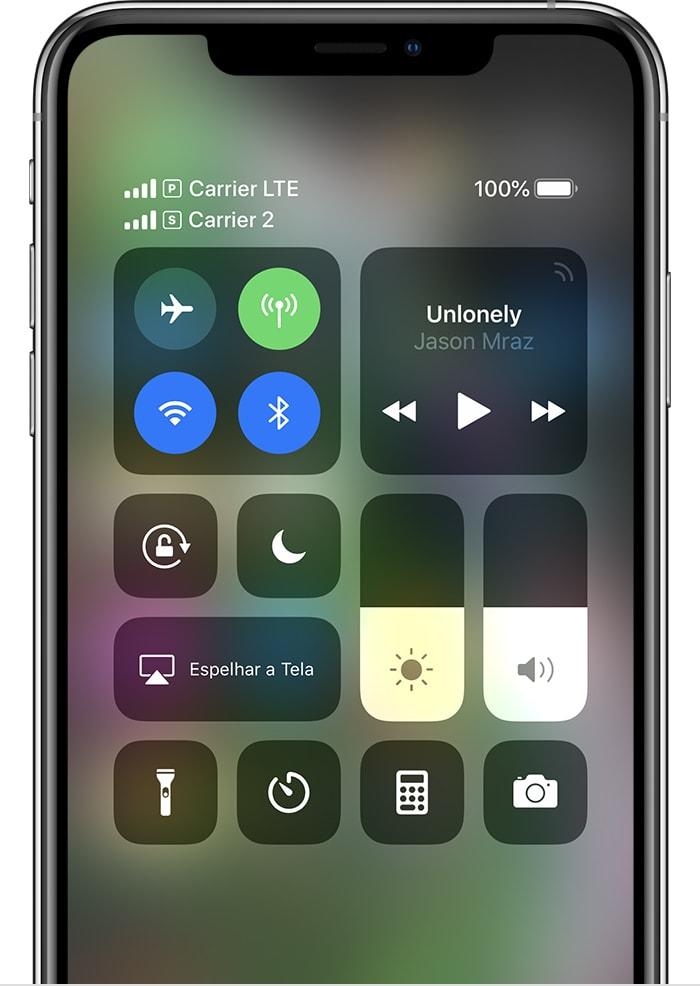 Central de Controle em iPhone com Dual SIM (dois chips)