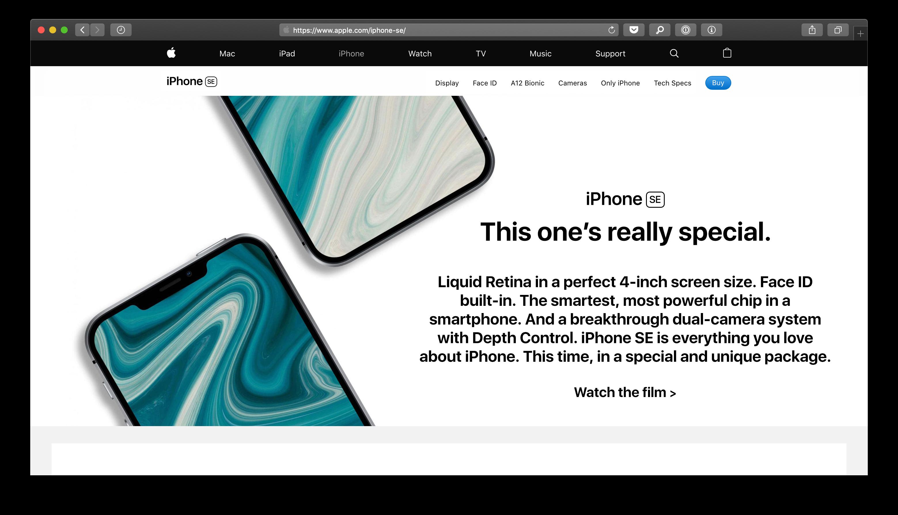 iPhone SE de segunda geração no site da Apple (hehe)