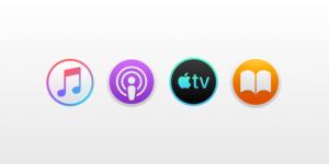 Ícones dos novos apps Música, Podcasts, Apple TV e Livros para macOS