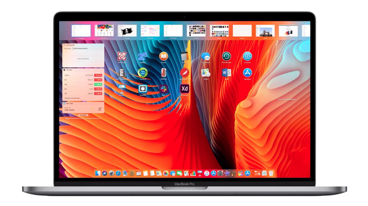 Conceito de janelas estilo Split View no macOS