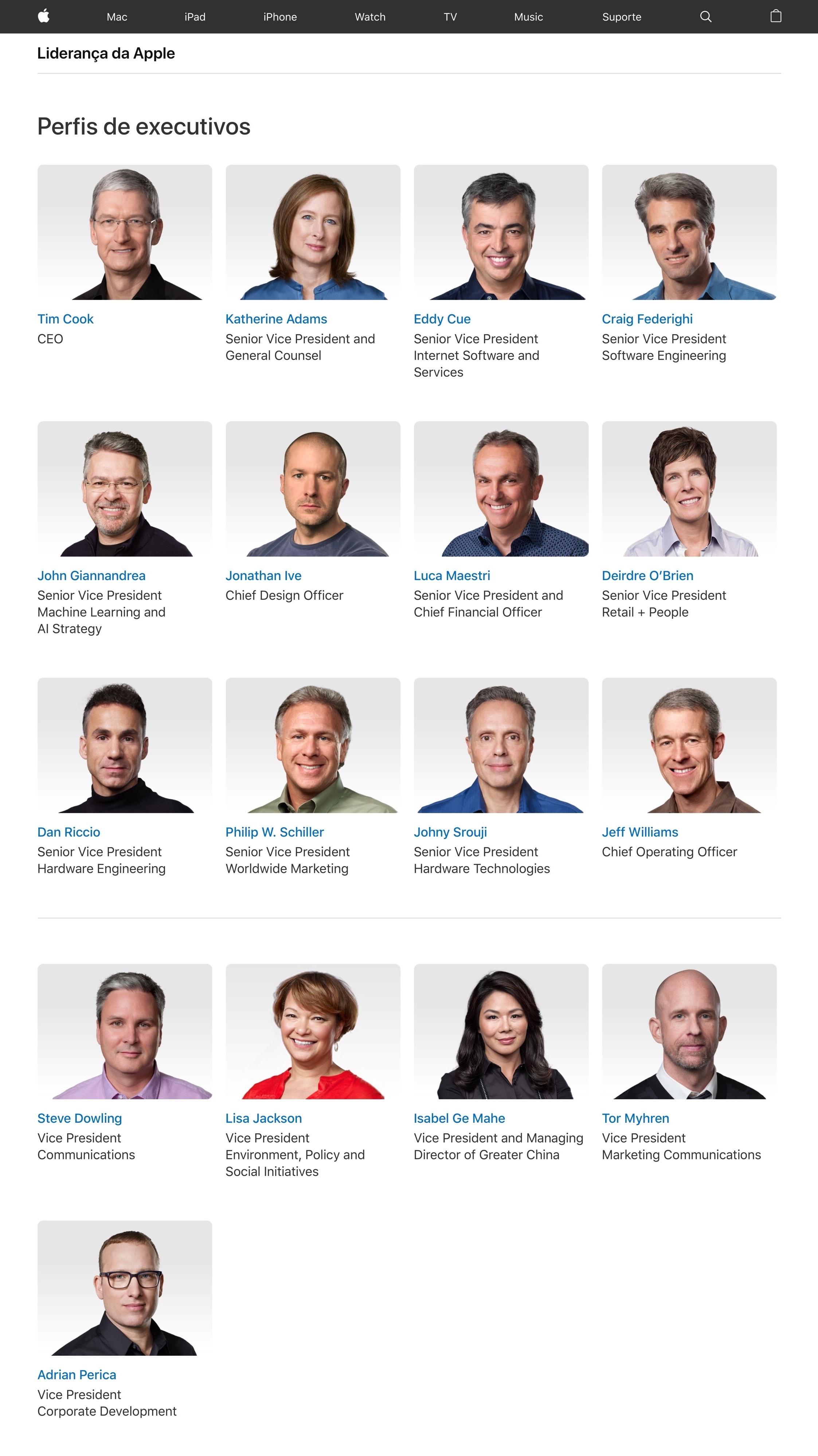 Página de liderança da Apple