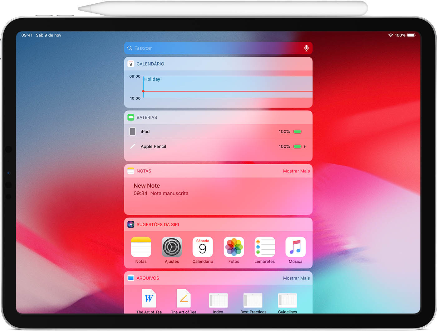 Apple Pencil recarregando em um iPad Pro
