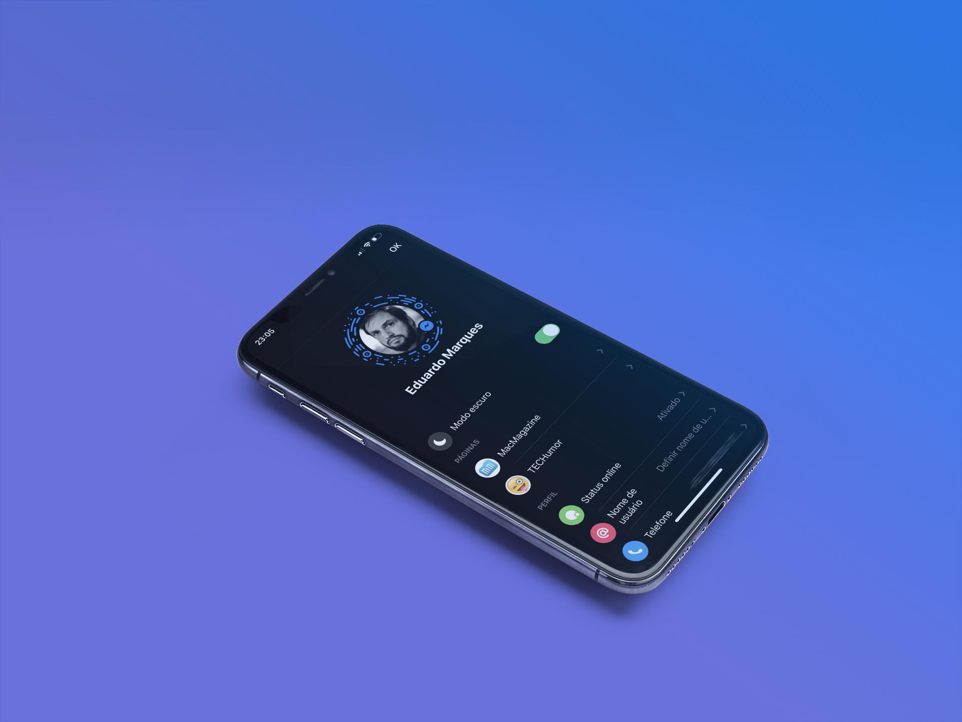 Modo Escuro no Messenger para iOS