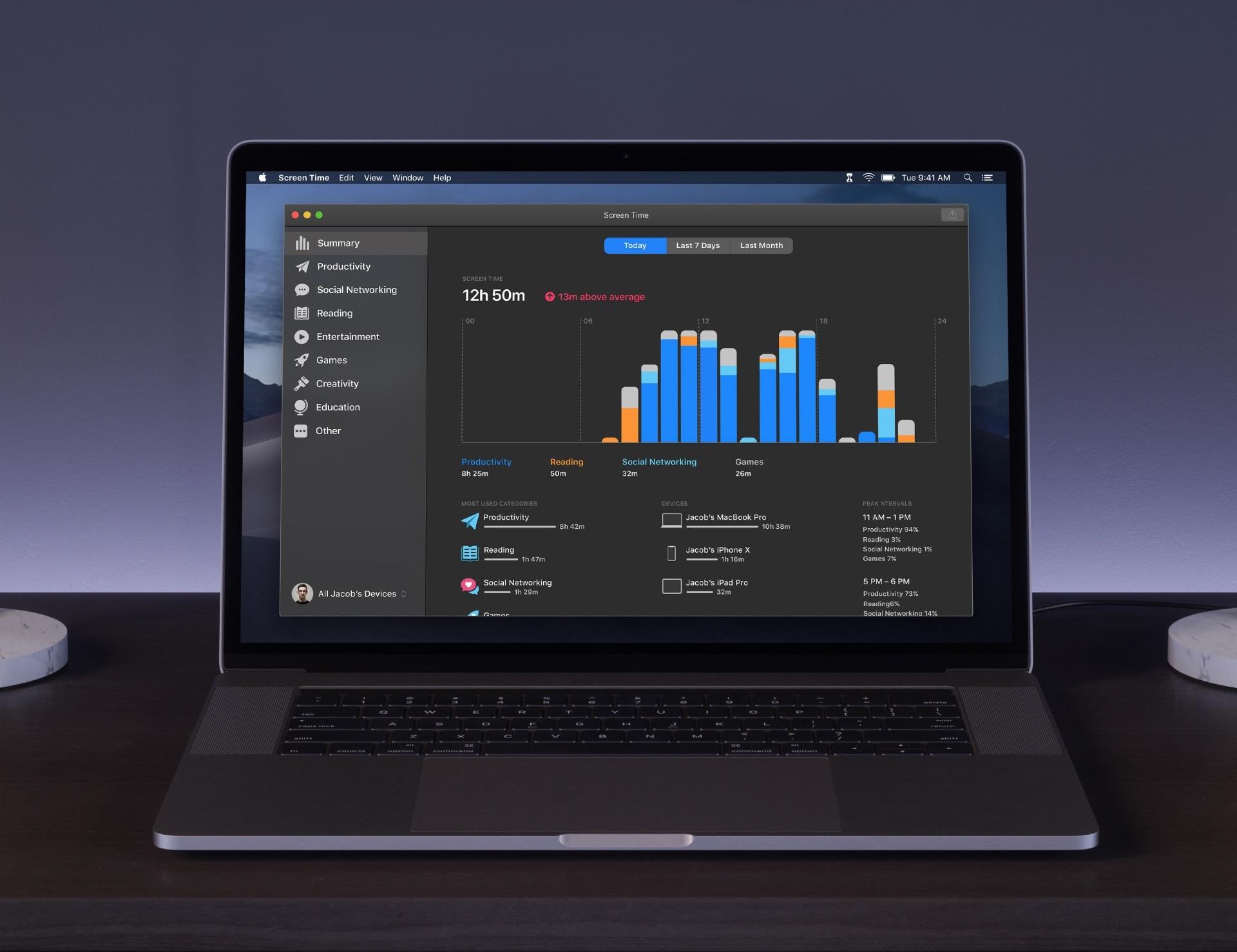 Conceito do app Tempo de Uso para macOS