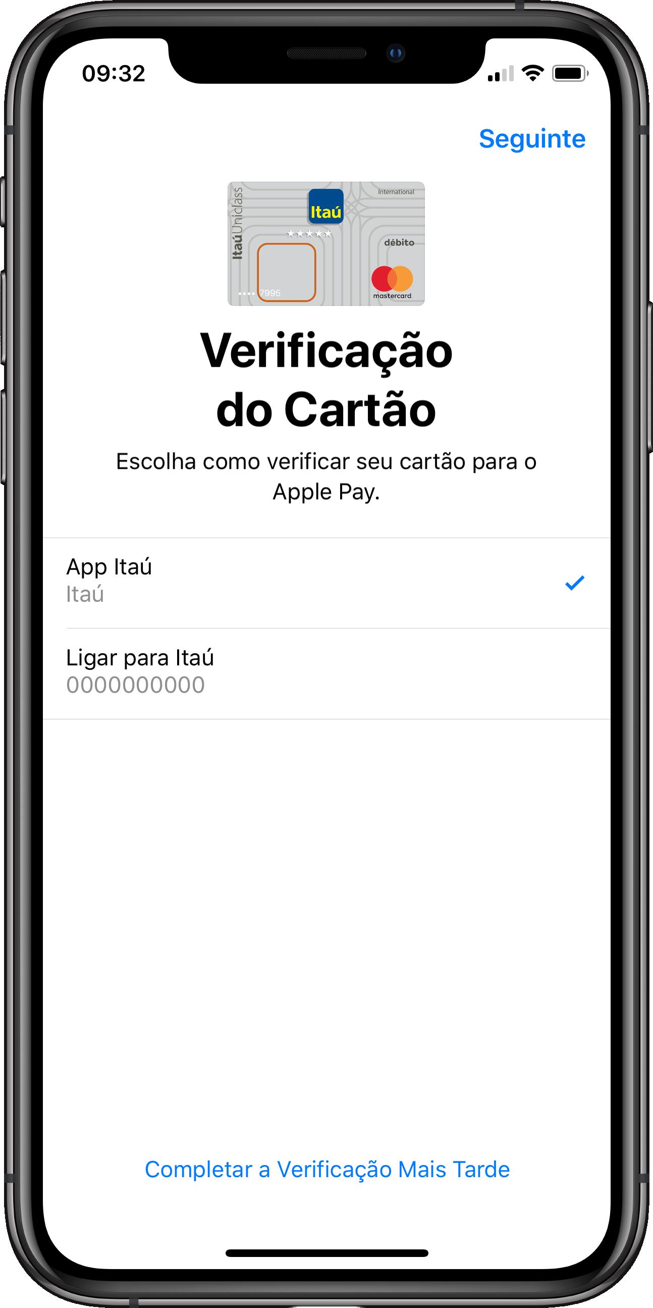 """Cartão de débito """"puro"""" do Itaú sendo cadastrado no Apple Pay"""
