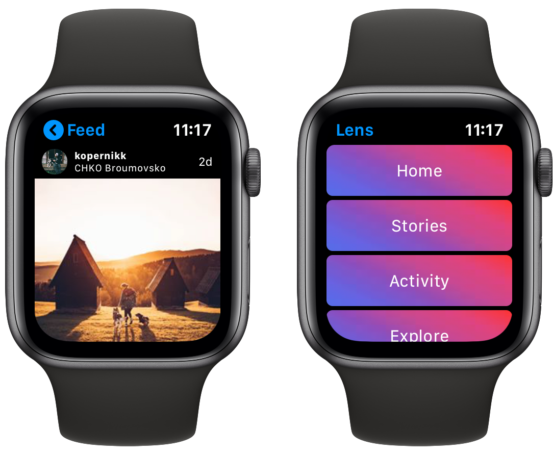Aplicativo Lens para acesso ao Instagram no Apple Watch