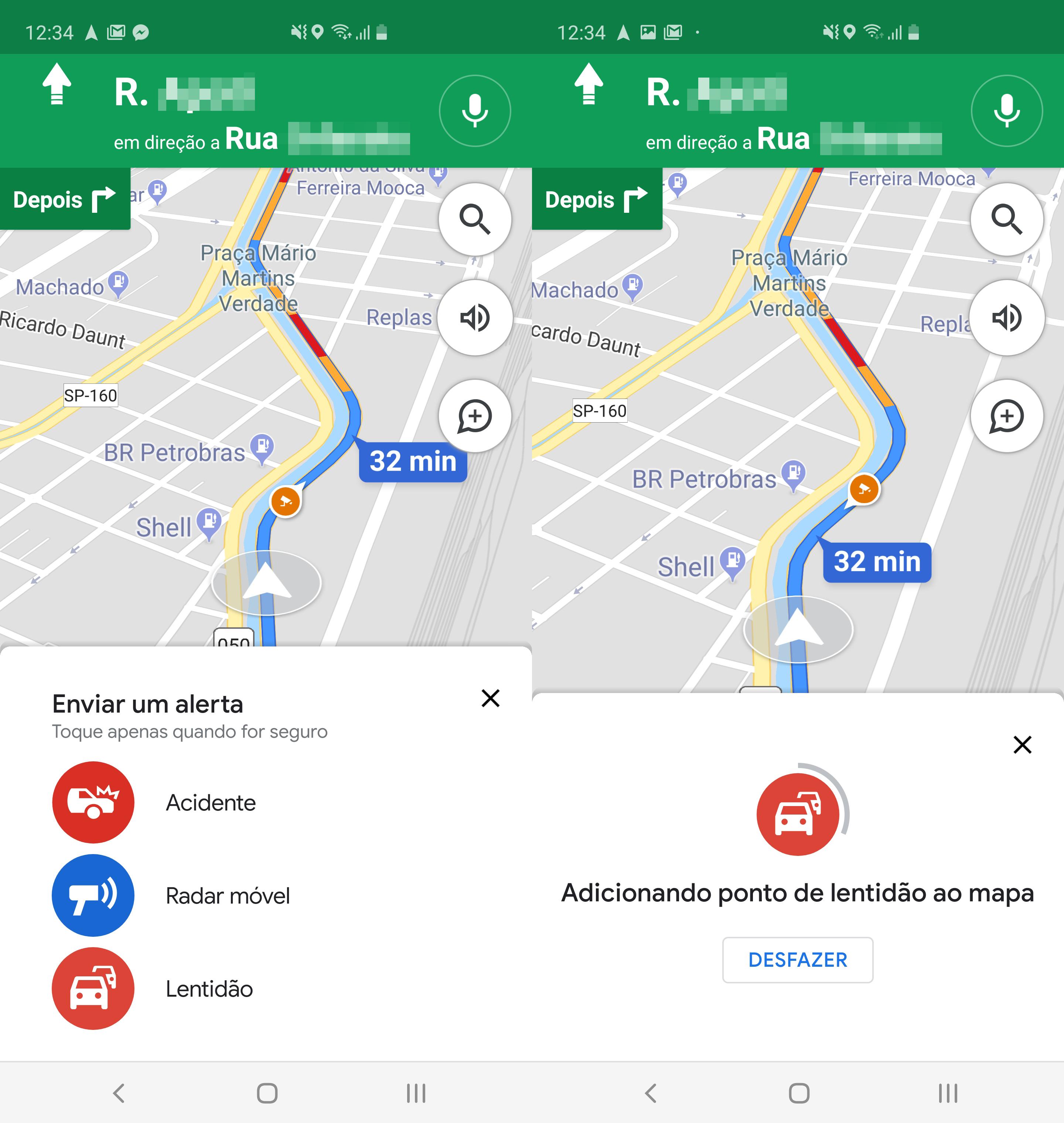 Opção de alertar lentidão no trânsito pelo Google Maps