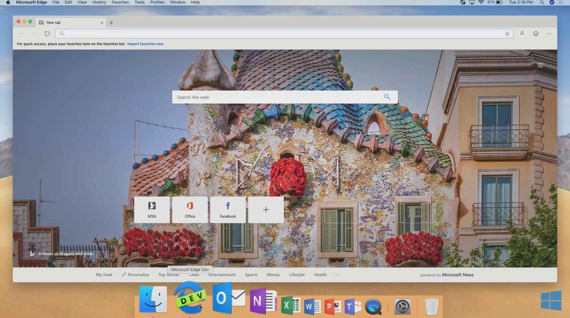 Microsoft Edge no macOS