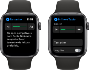 Ajuste de brilho e texto no Apple Watch