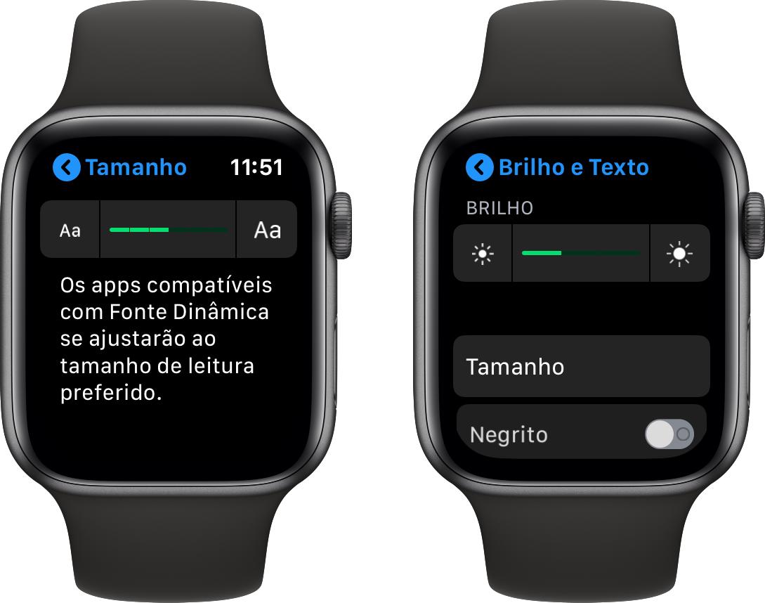 Ajuste de brilho e texto no Apple Watch
