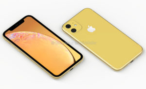 Render do sucessor do iPhone XR (amarelo)