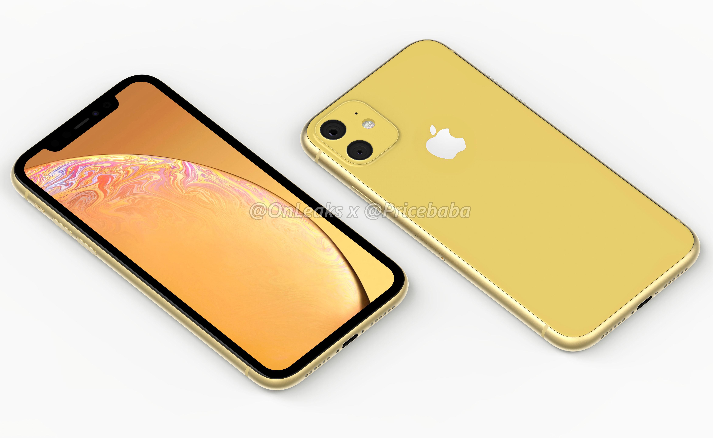 Render do sucessor do iPhone XR (amarelo)