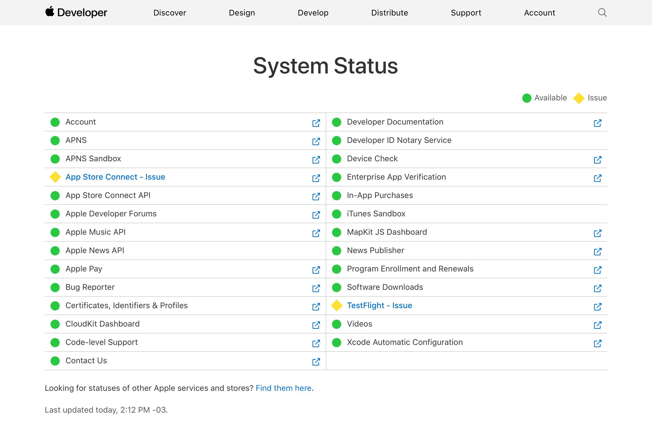 Falha em serviços da Apple