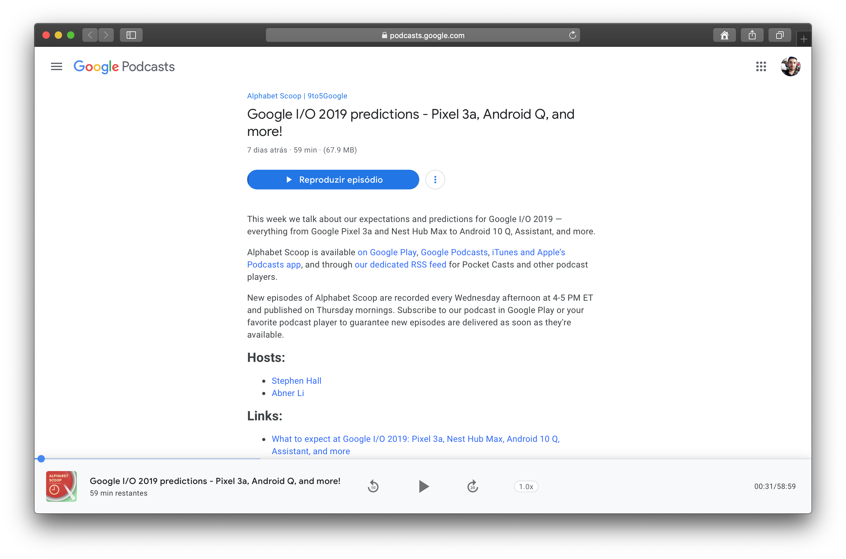 Google Podcasts no Safari